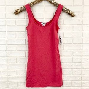 Abound double scoop tunic tank solid coral stretch